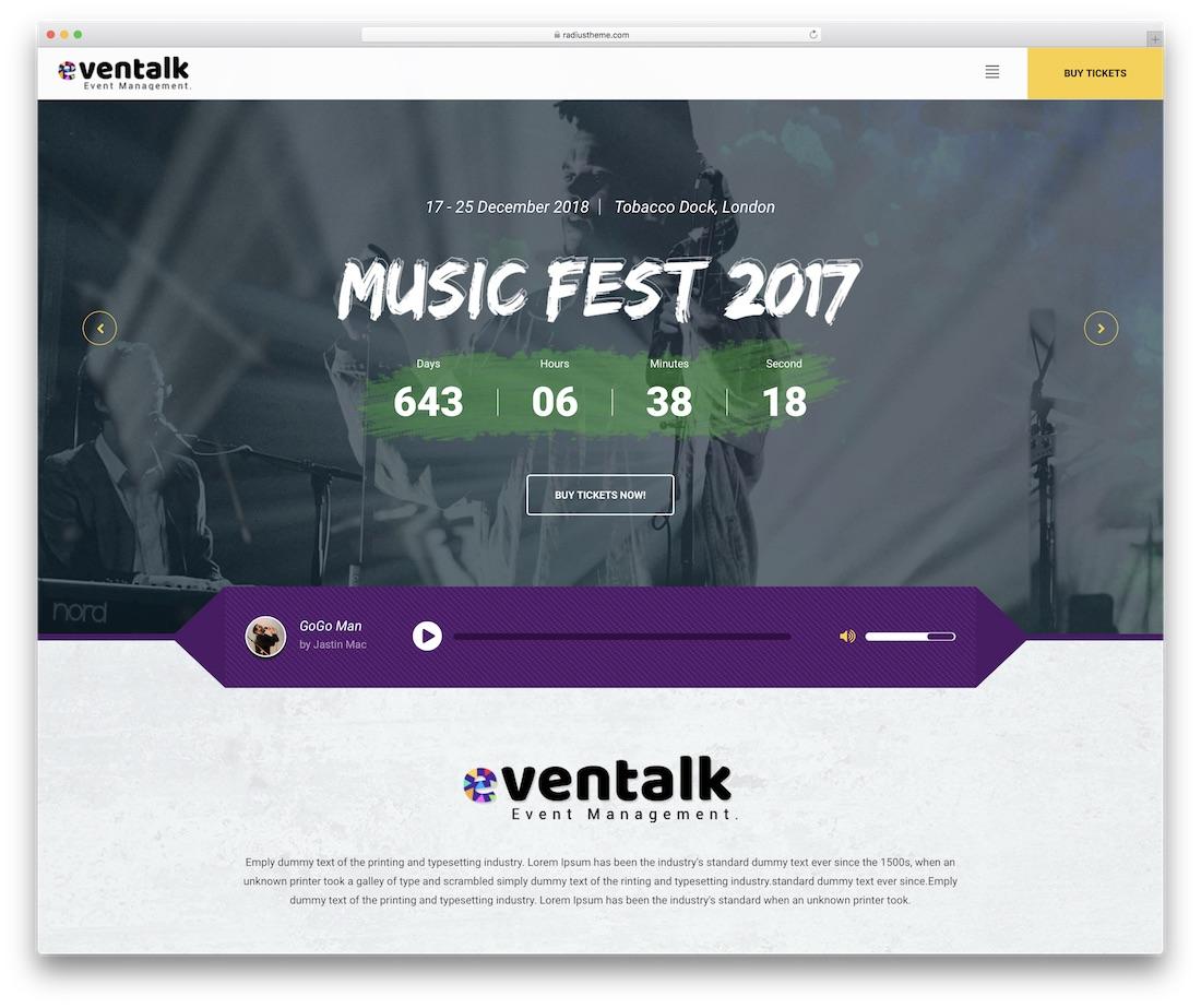 plantilla de sitio web de eventos eventtalk