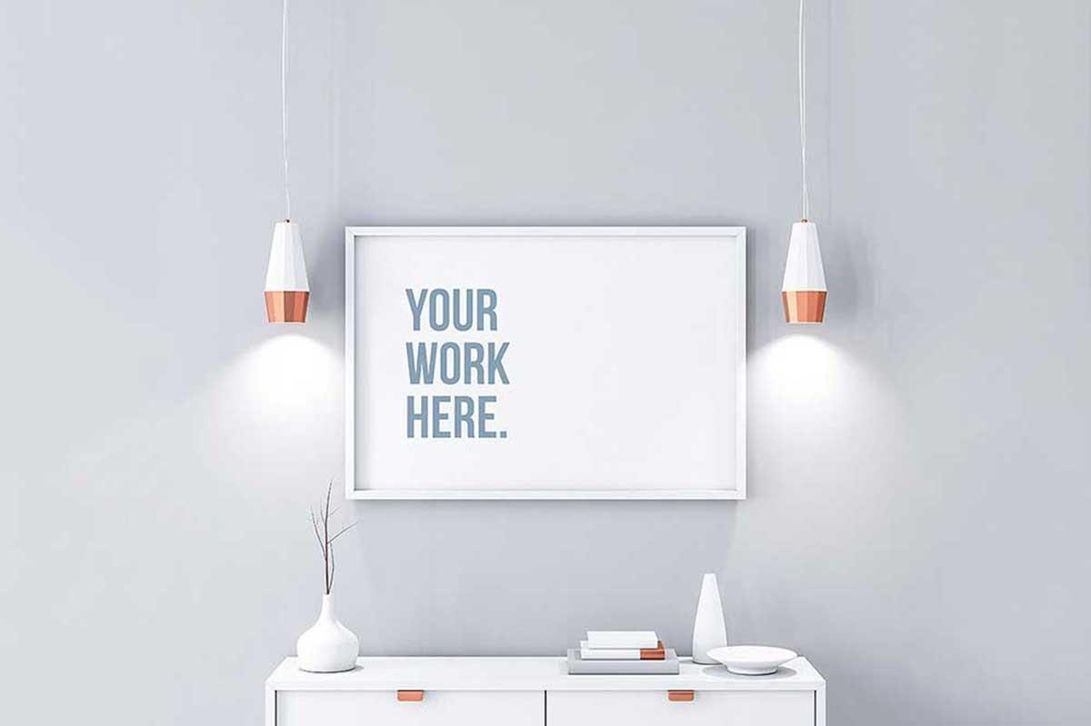 Poster/artwork in a modern loft mockup. 42 Horizontal Poster Mockups For Effective Marketing Colorlib