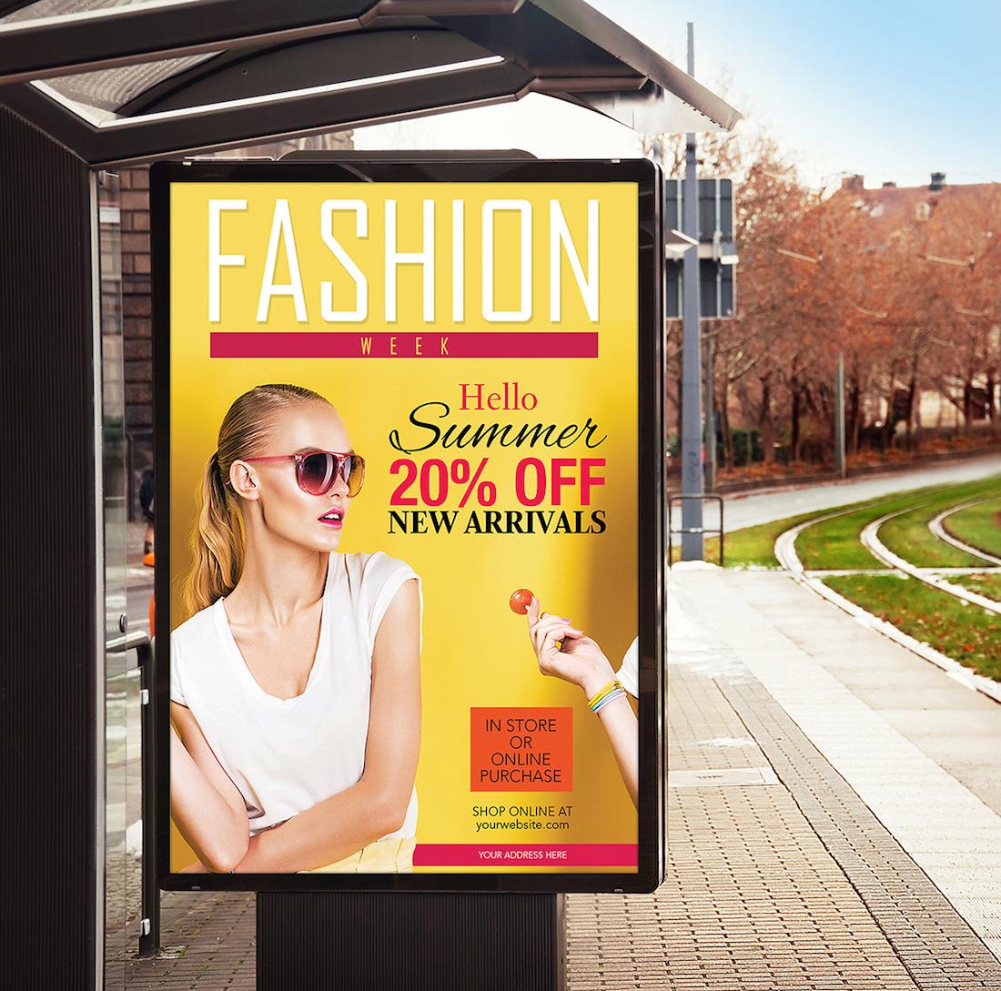 maqueta de banner de cartelera de parada de autobús gratuita