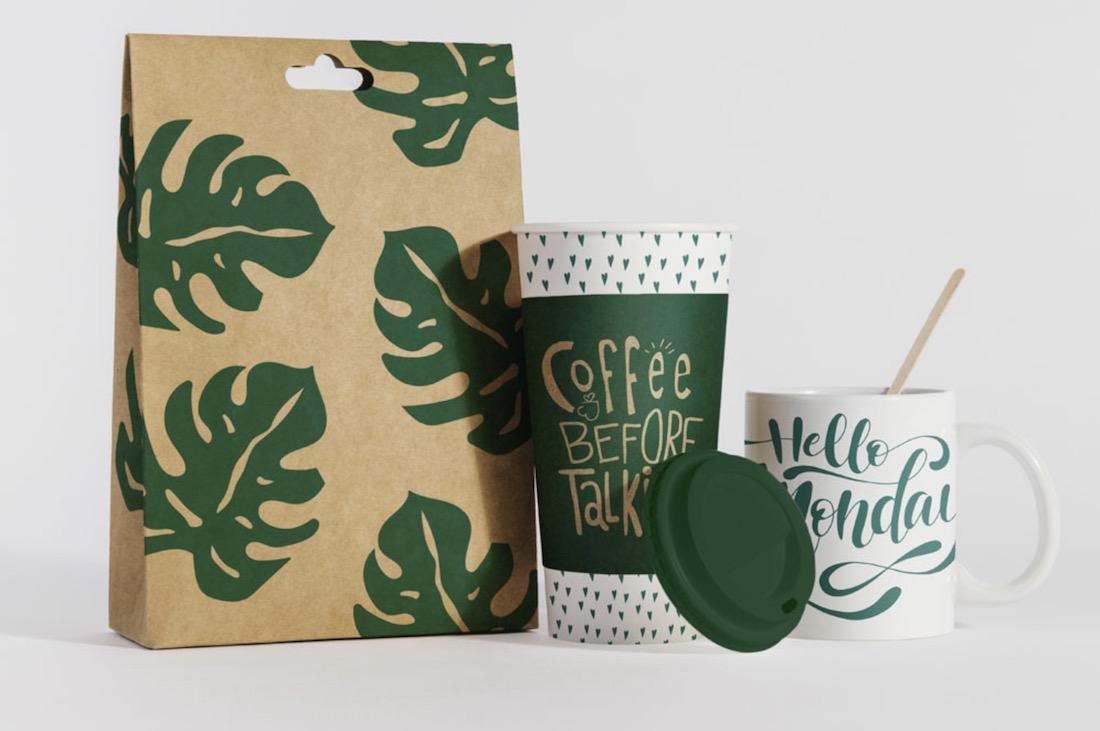 maqueta de café ecológico gratis
