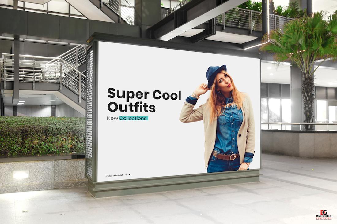 Centro comercial gratuito de cartelera publicitaria digital maqueta de anuncios psd para publicidad