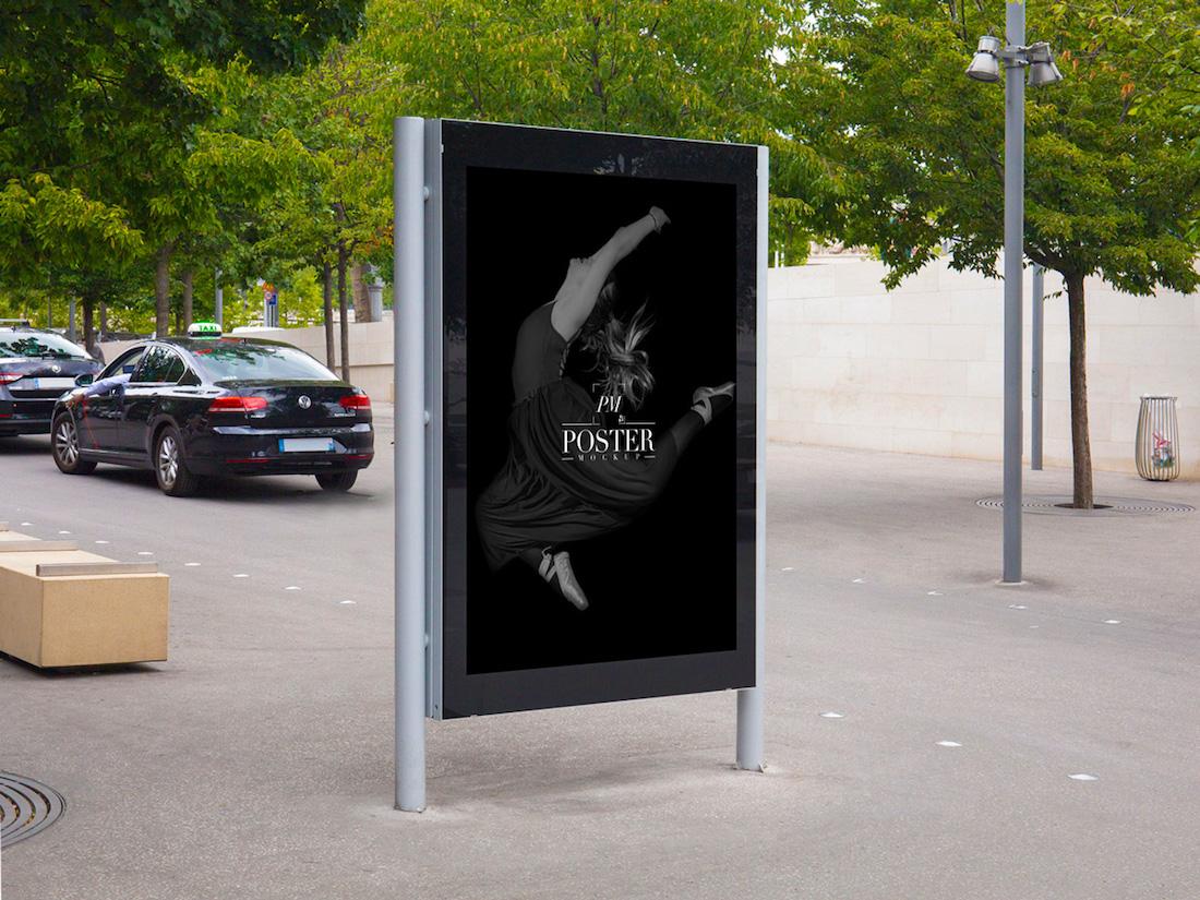 maqueta de cartelera de cartelera de teatro exterior gratuita para publicidad