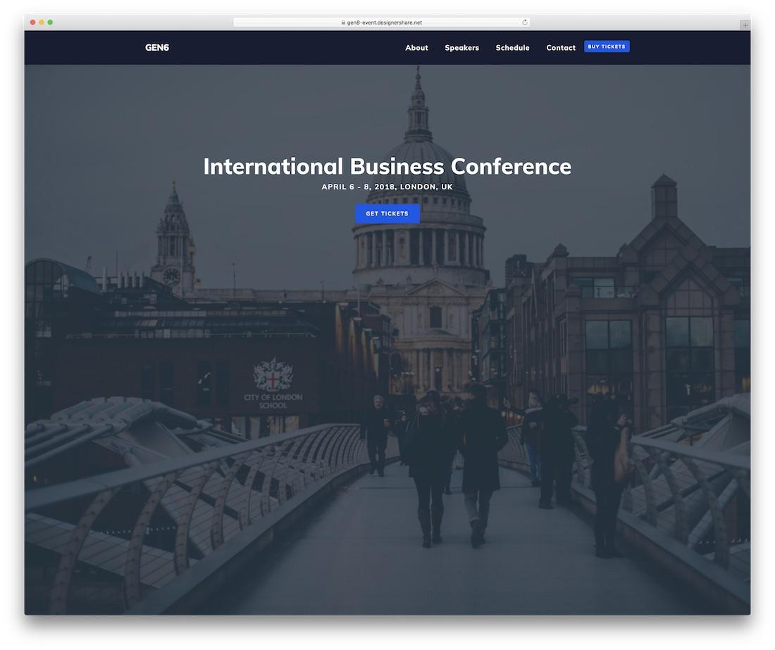 plantilla de sitio web de eventos gen8