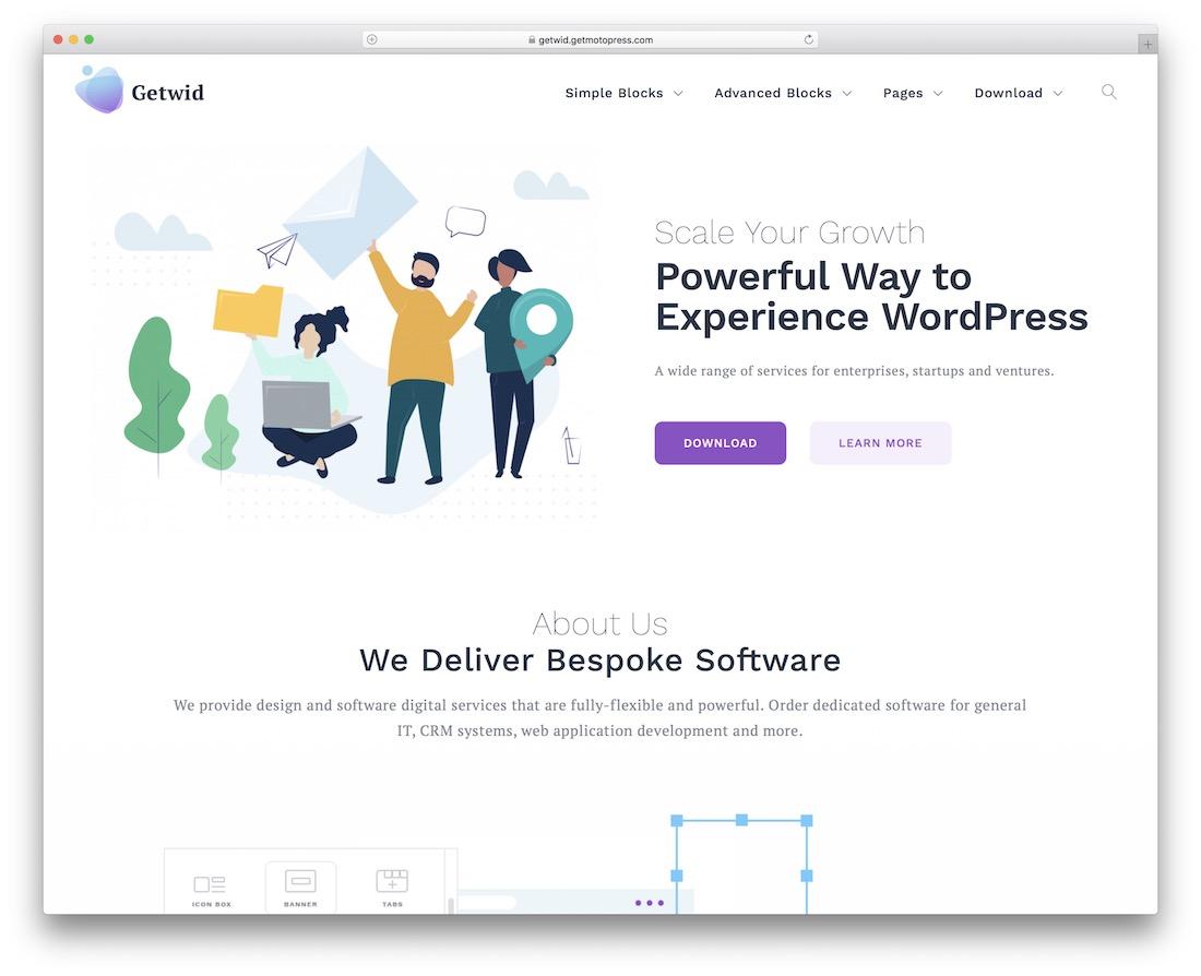 base de getwid tema de wordpress de diseño plano libre