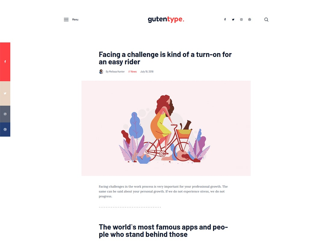 Gutentype | Tema 100% Gutenberg WordPress para blog moderno
