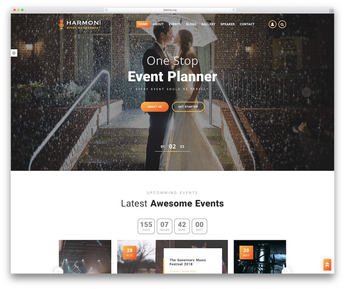 plantilla de sitio web de eventos harmoni