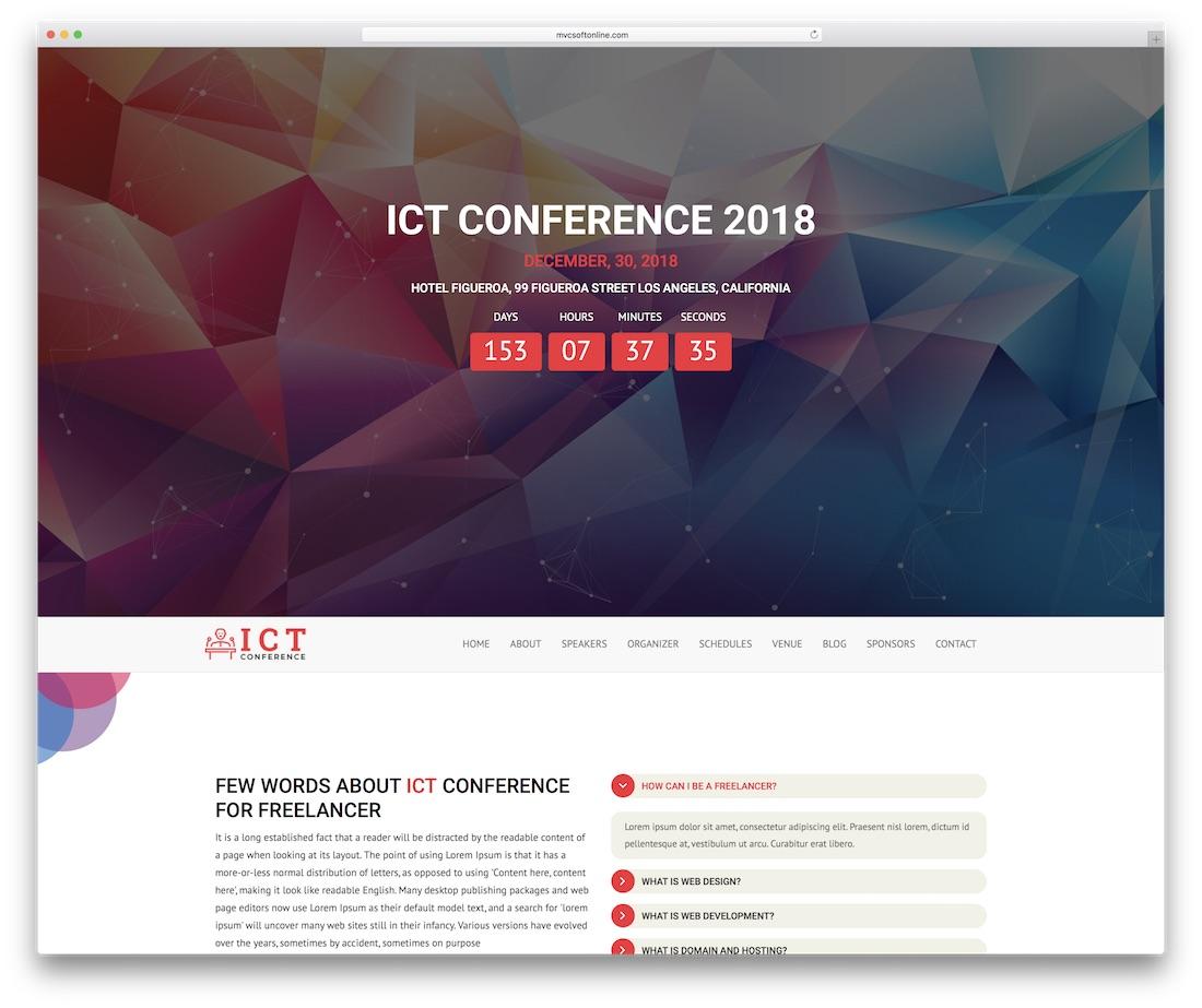 ict plantilla de sitio web de eventos