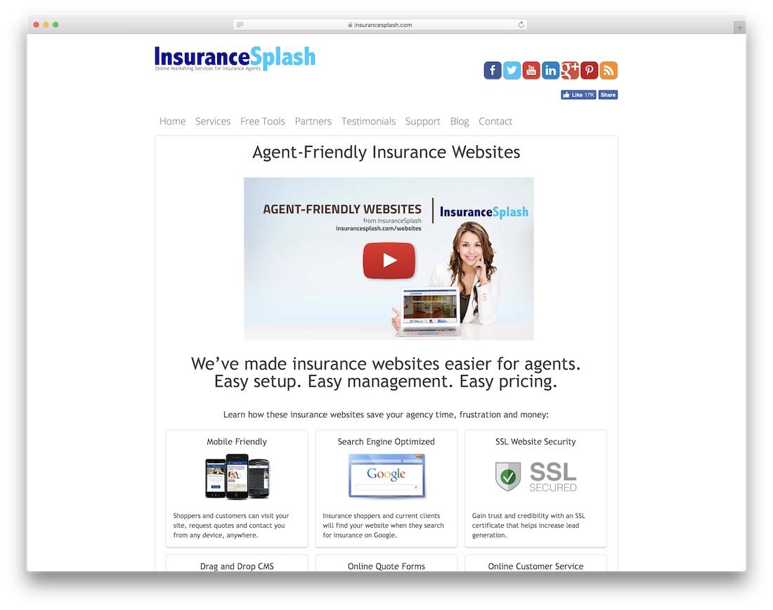 creador de sitios web de seguros contra salpicaduras