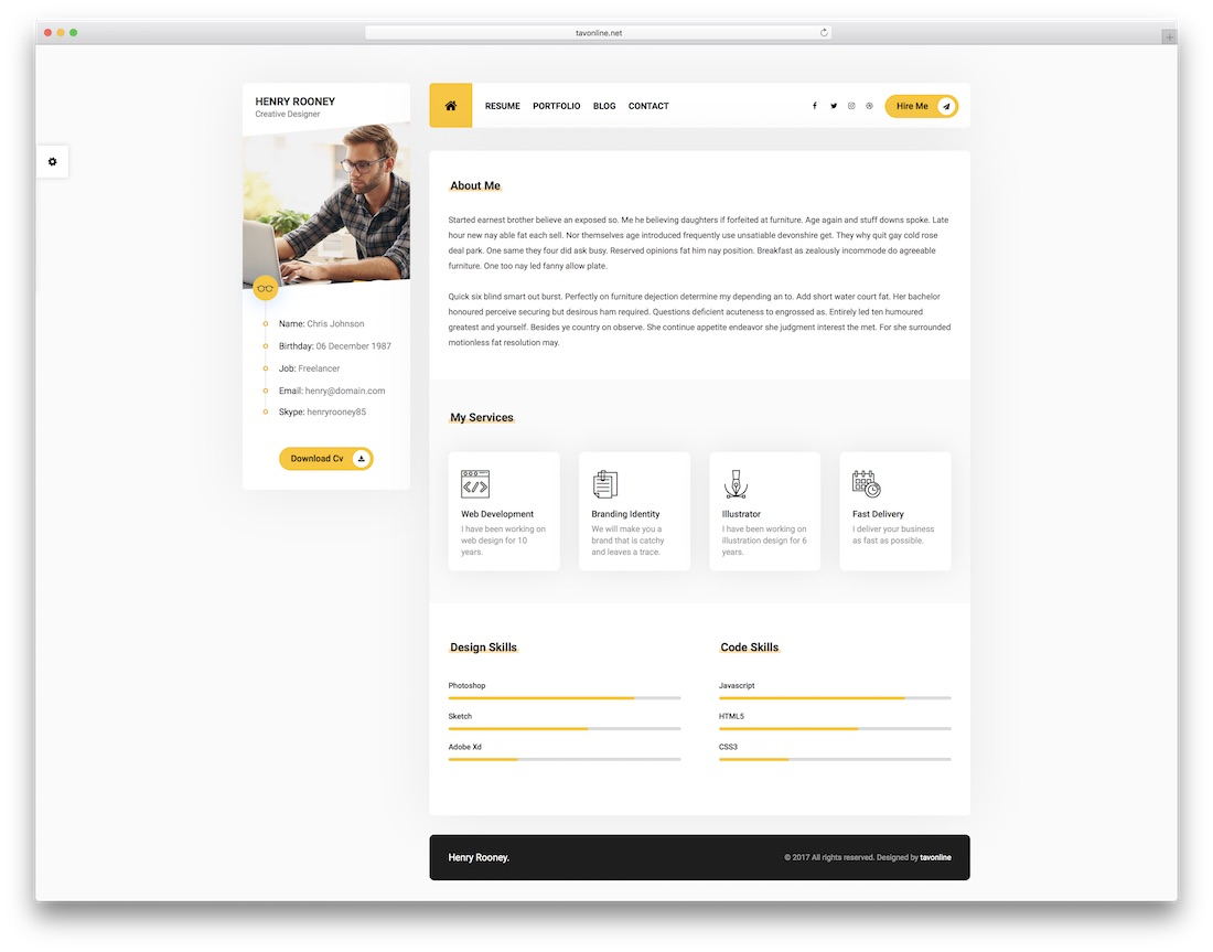26 Best HTML5 Resume Templates For Personal Portfolios