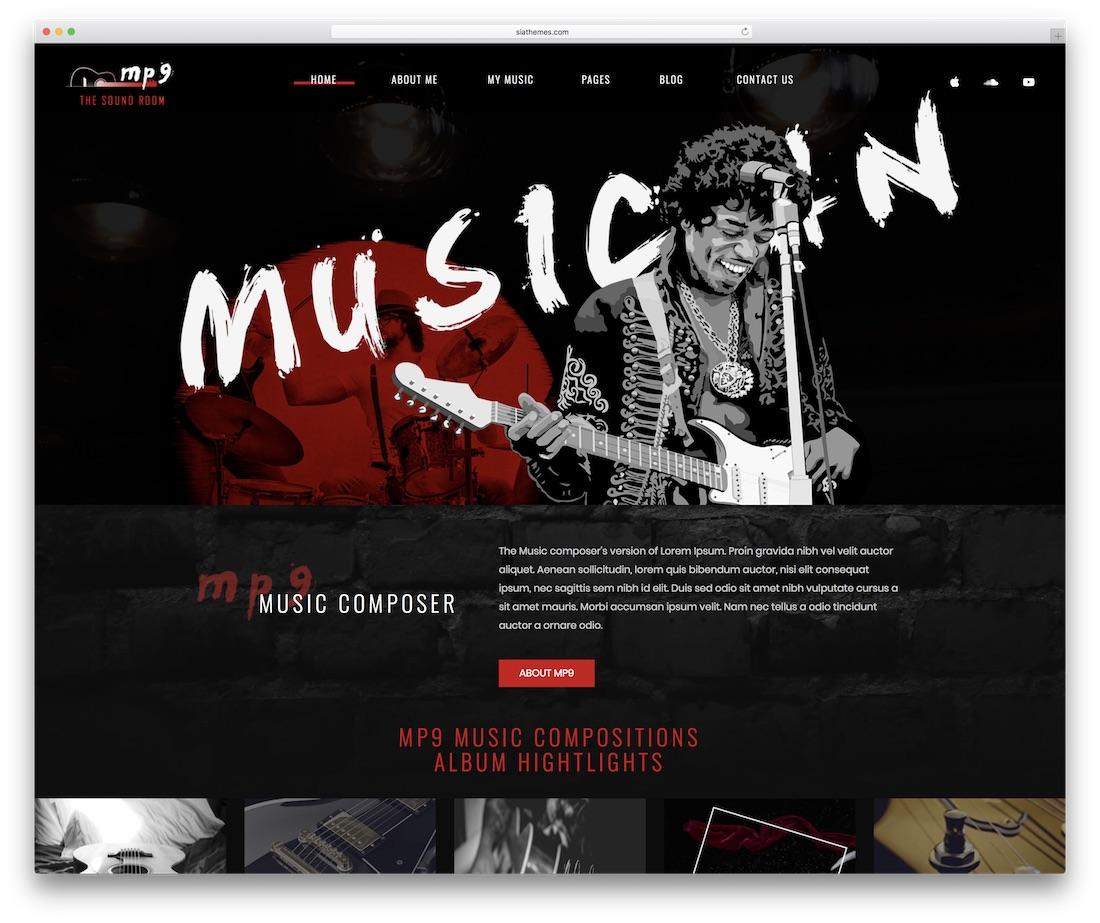 plantilla de sitio web de eventos mp9