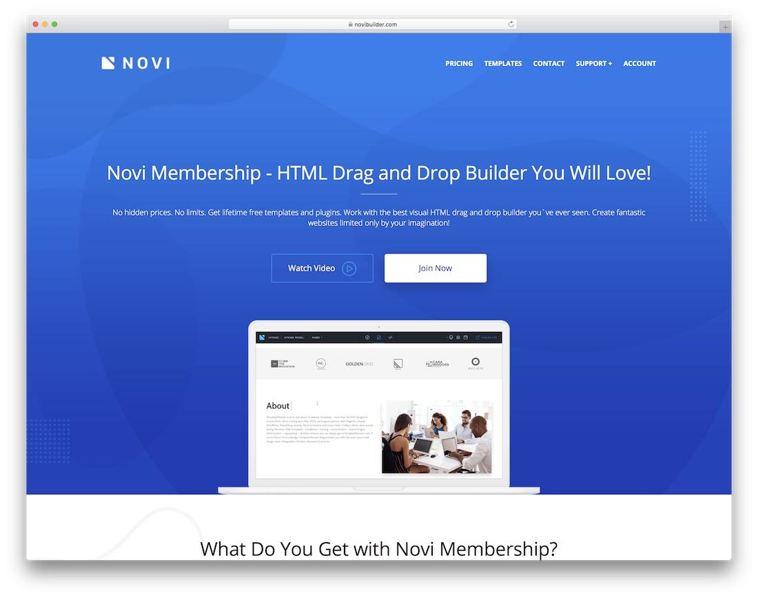 constructor de sitios web de seguros novi
