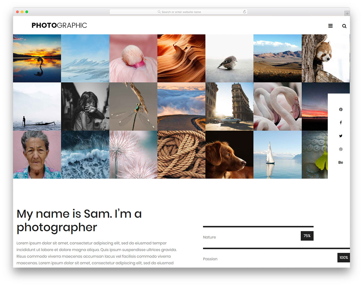 bootstrap photographer resume free templates