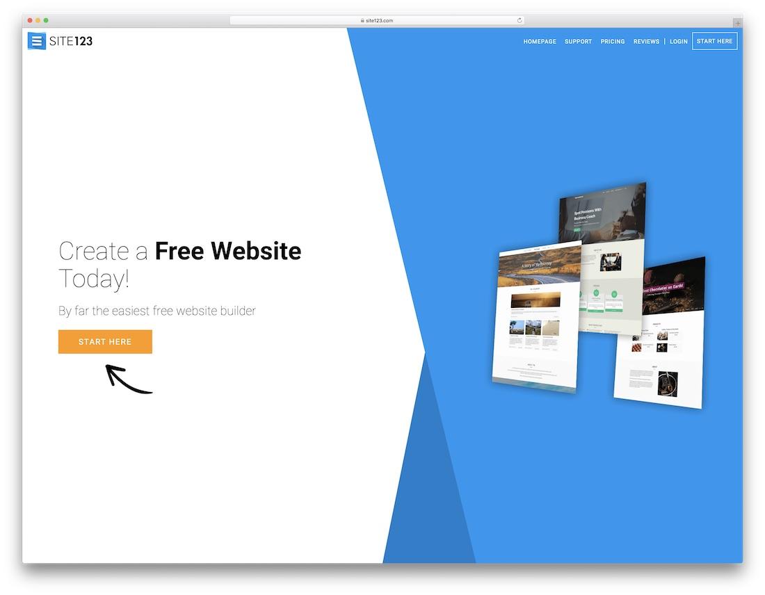 constructor de sitios web de seguros site123