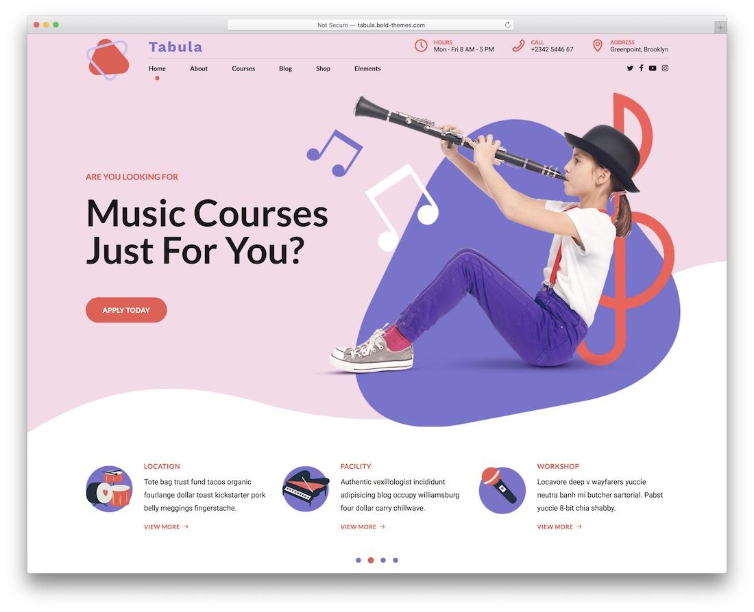 plantilla de sitio web de música tabula