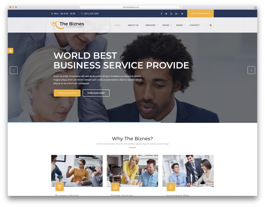 the business consulting website template