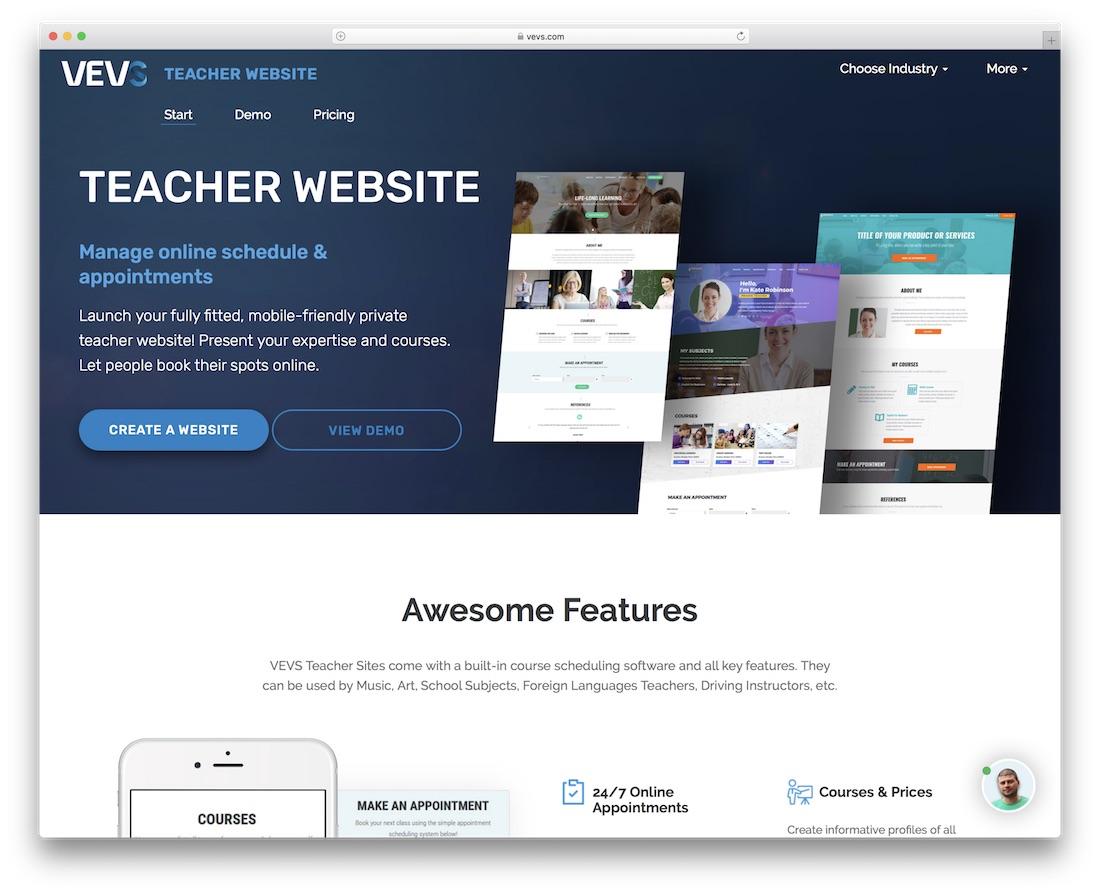creador de sitios web de escuelas y docentes vevs