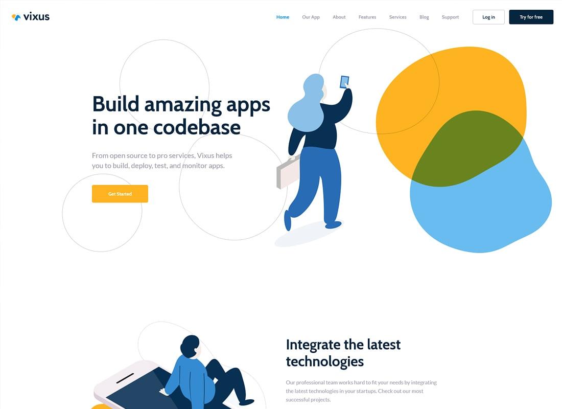 Vixus | Página de inicio y aplicación móvil Tema de WordPress