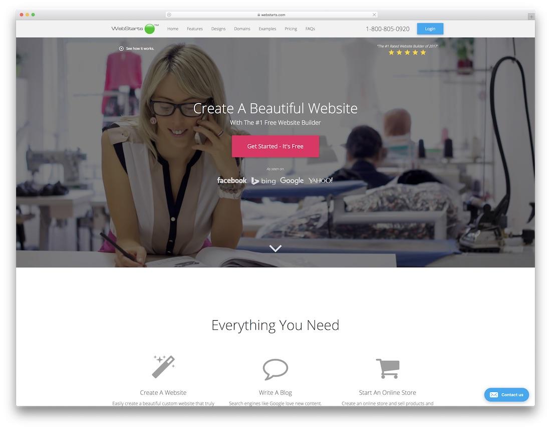 webstarts constructor de sitios web de seguros