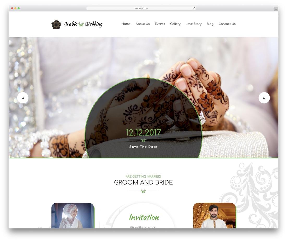 plantilla de sitio web de evento de invitación de boda