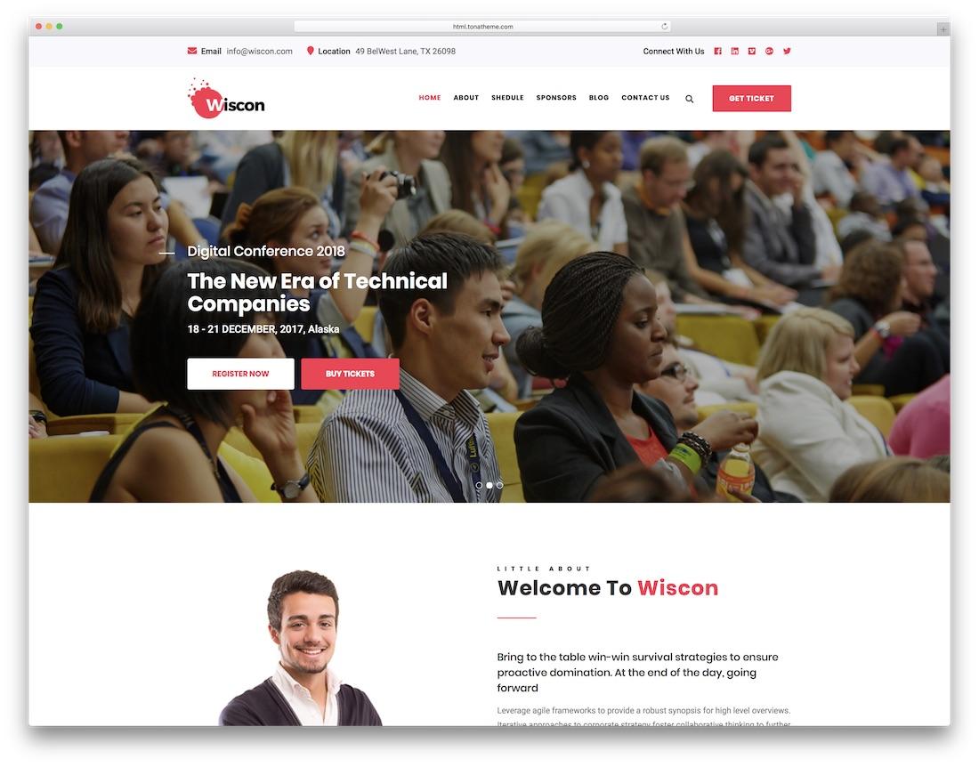 plantilla de sitio web de eventos wiscon