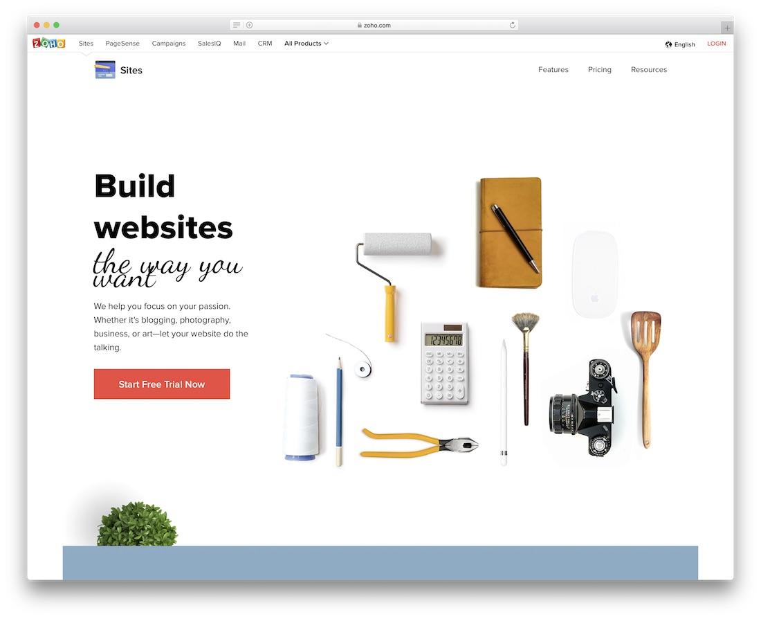 constructor de sitios web de escuelas y maestros de zoho