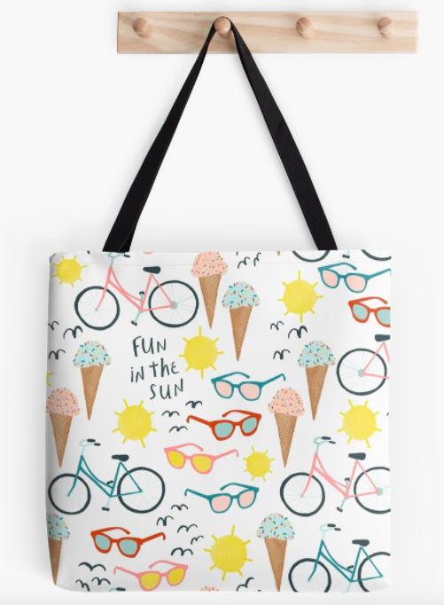 Fun in the Sun summertime tote bag by shoshannah scribbles