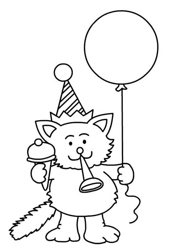 A Cat Blowing A Horn For Happy Birthday Party Coloring