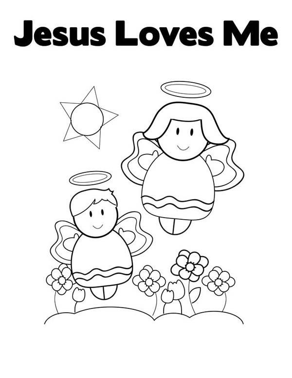 Cute Little Angels In Jesus Love Me Coloring Page : Color Luna