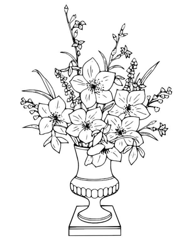 Flower Bouquet In Vase Coloring Page : Color Luna