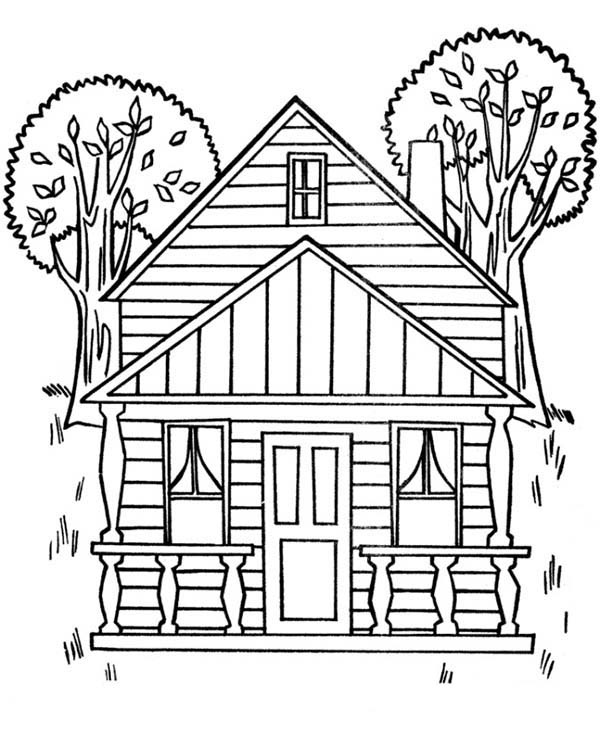 Houses With Two Big Trees Coloring Page : Color Luna