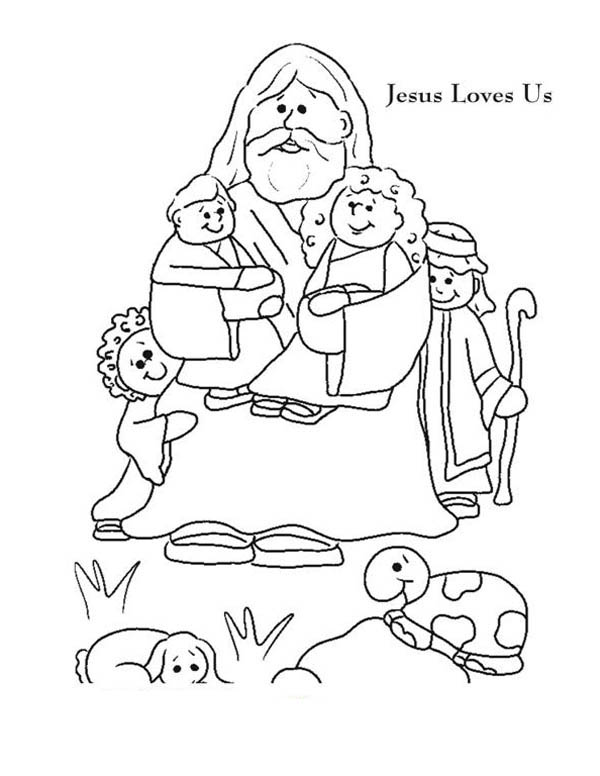 Jesus Love Me And Jesus Love Us Picture Colorig Page