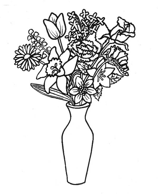 Lovely Flower Bouquet In Thin Vase Coloring Page : Color Luna
