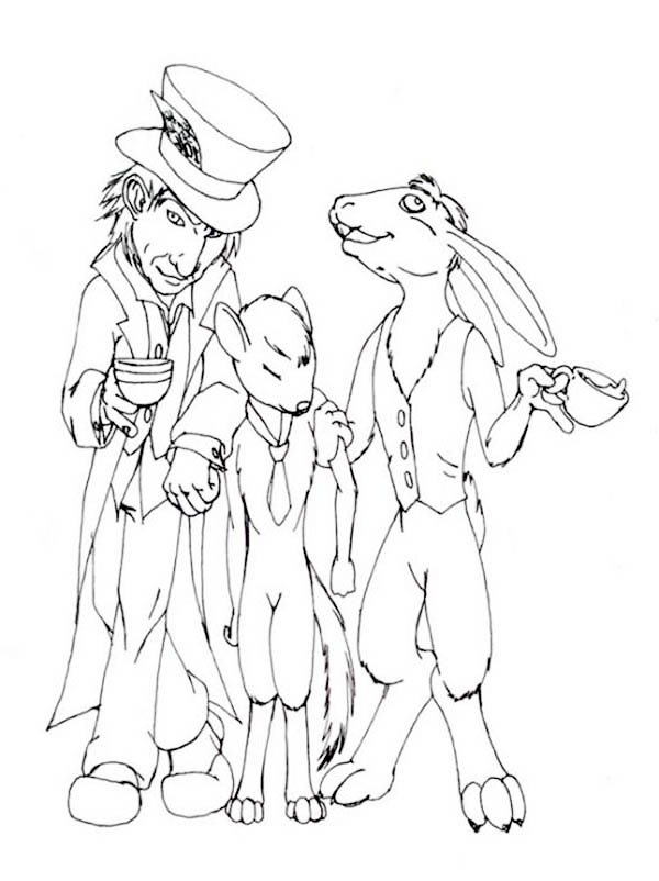 Mad Hatter And Door Mouse Coloring Page : Color Luna