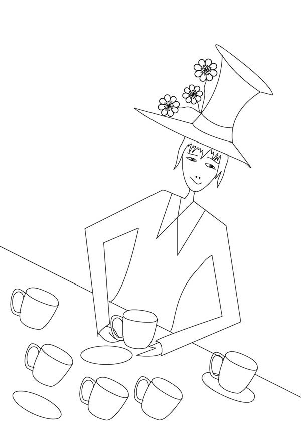 Mad Hatter And Six Tea Cups Coloring Page : Color Luna