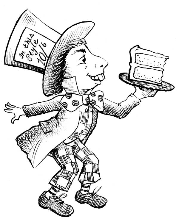 Mad Hatter With Slice Of Cake Coloring Page : Color Luna