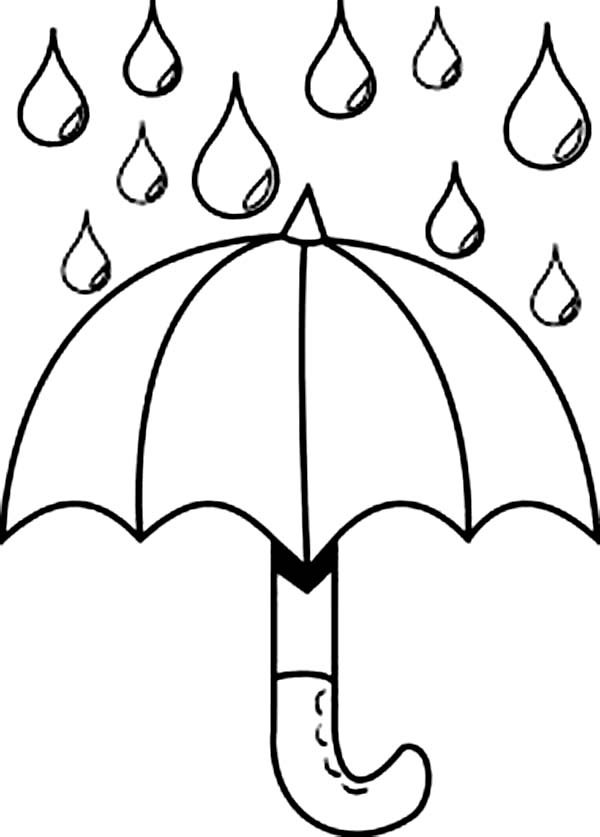 Nice Picture Of Raindrop And Umbrella Coloring Page
