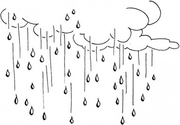 Raining Day Raindrop Falling From The Sky Coloring Page