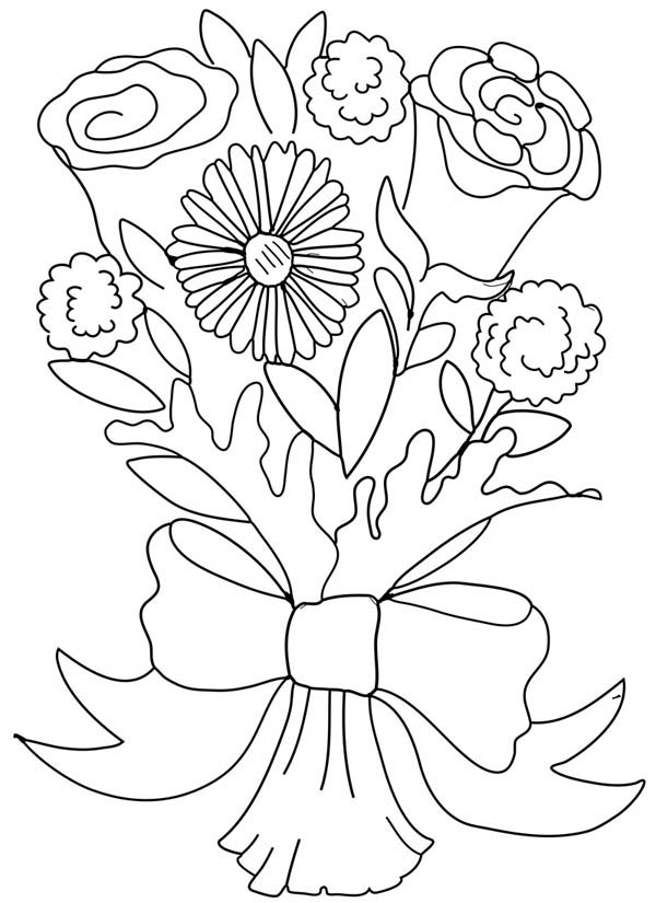 Rose And Carnation Flower Bouquet Coloring Page : Color Luna
