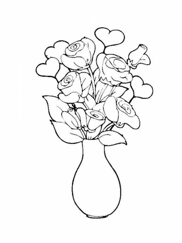 Rose In Vase Flower Bouquet Coloring Page : Color Luna
