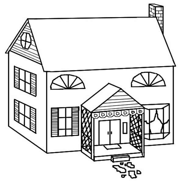 Simple Drawing Of Houses Coloring Page : Color Luna