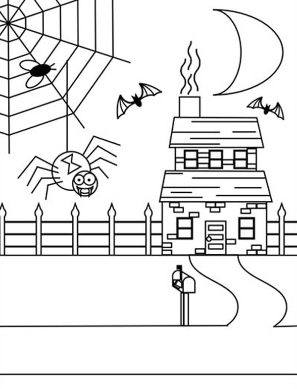 Spider Web On Haunted House Coloring Page : Color Luna