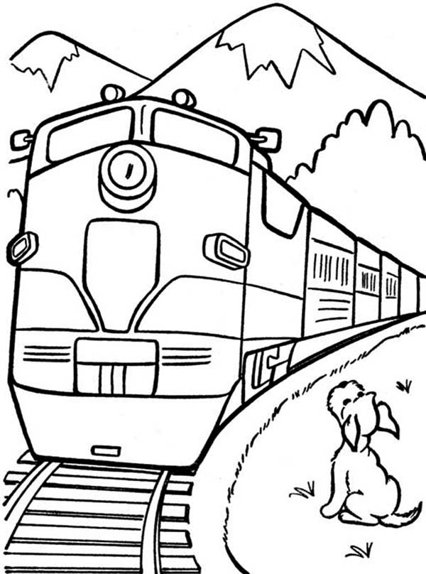 A Dog Looking At The Train Coloring Page : Color Luna