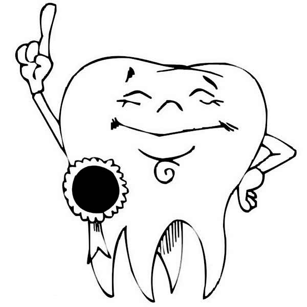 Award Winning Tooth In Dental Health Coloring Page : Color