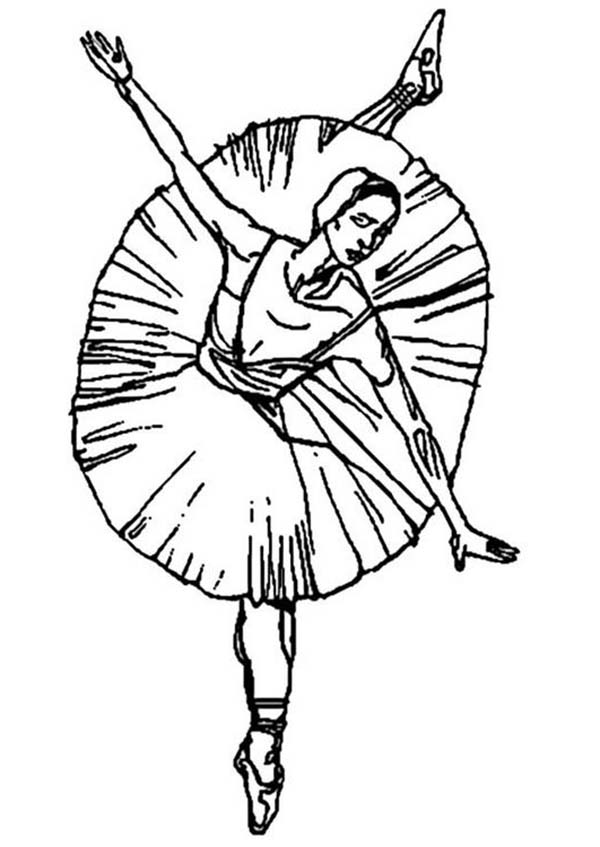 Ballerina Dancing For Ballet Performance Coloring Page