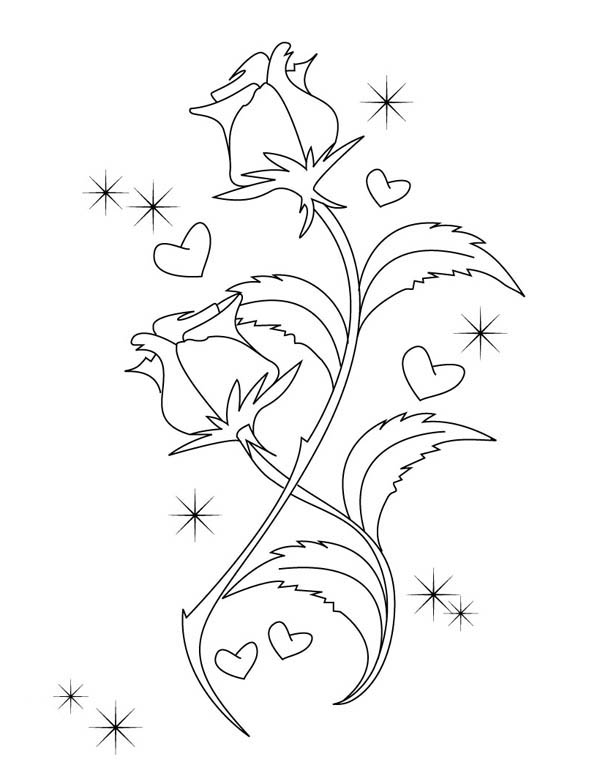 Beautiful Drawing Of Hearts And Roses Coloring Page