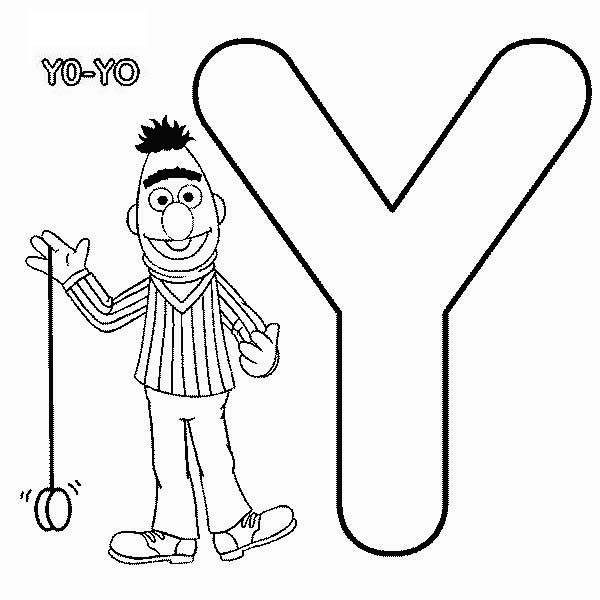 Bert Playing With Yoyo In Sesame Street Coloring Page