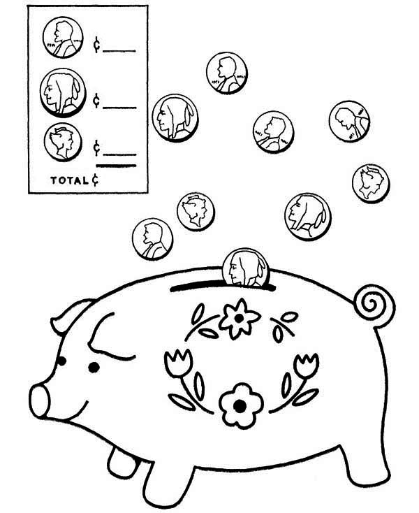 Coin Going In Piggy Bank Coloring Page : Color Luna