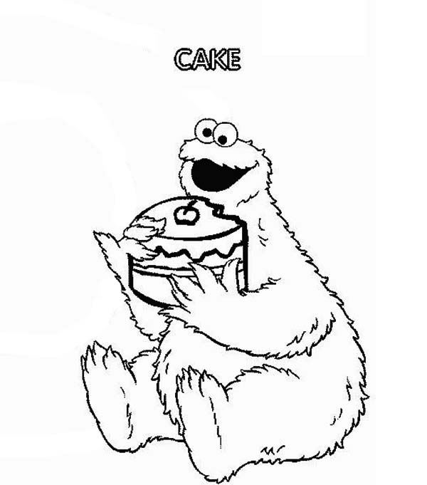 Cookie Eat Cake In Sesame Street Show Coloring Page