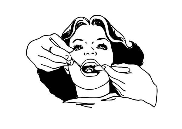 Dental Examination For Dental Health Coloring Page : Color
