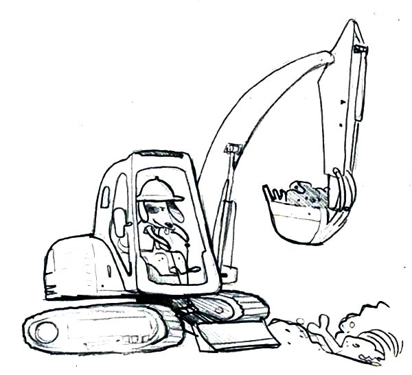 Dog Operating A Digger Coloring Page : Color Luna